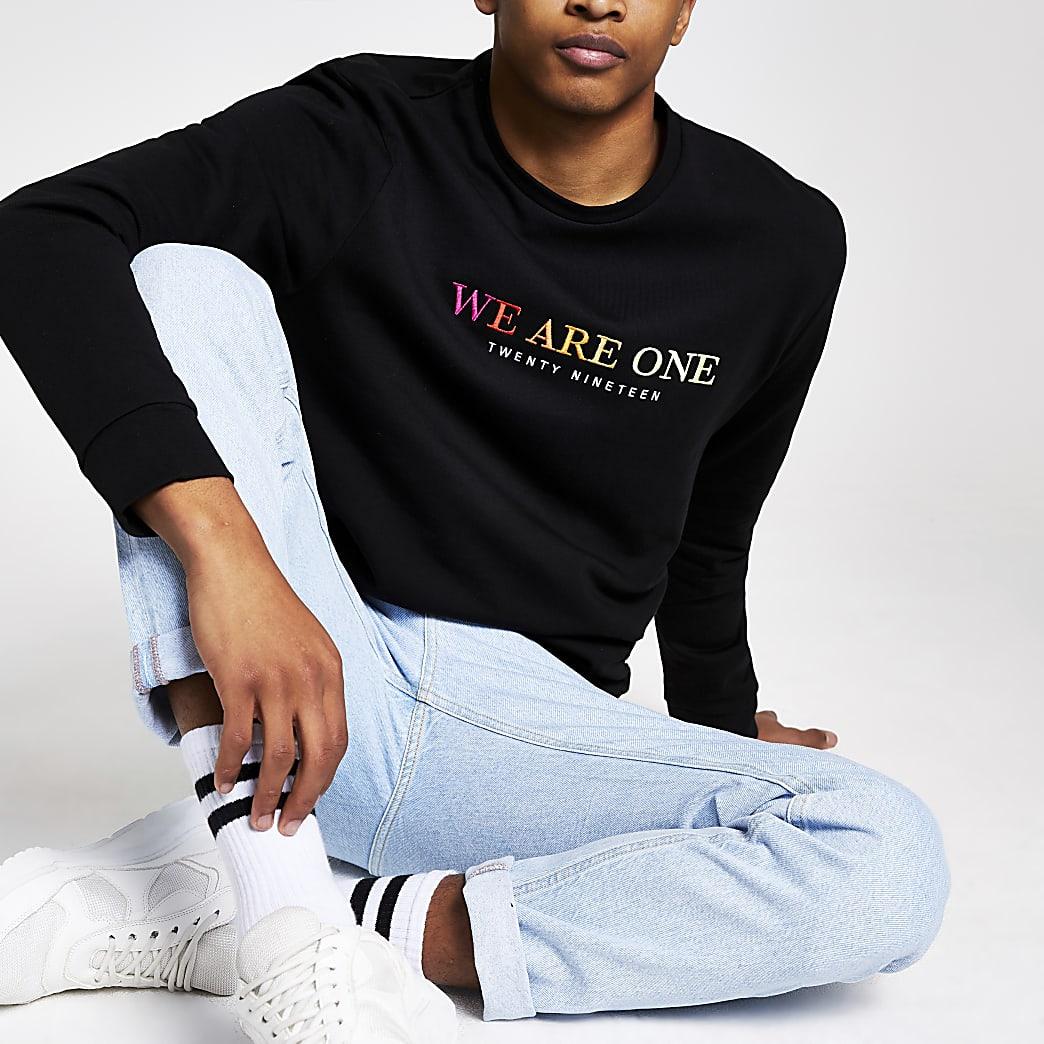 Pride - Zwart sweatshirt met 'we are one'-print