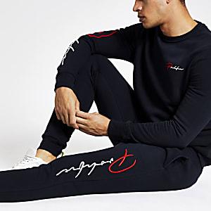 Pantalon de jogging slim à inscription « Prolific » bleu marine