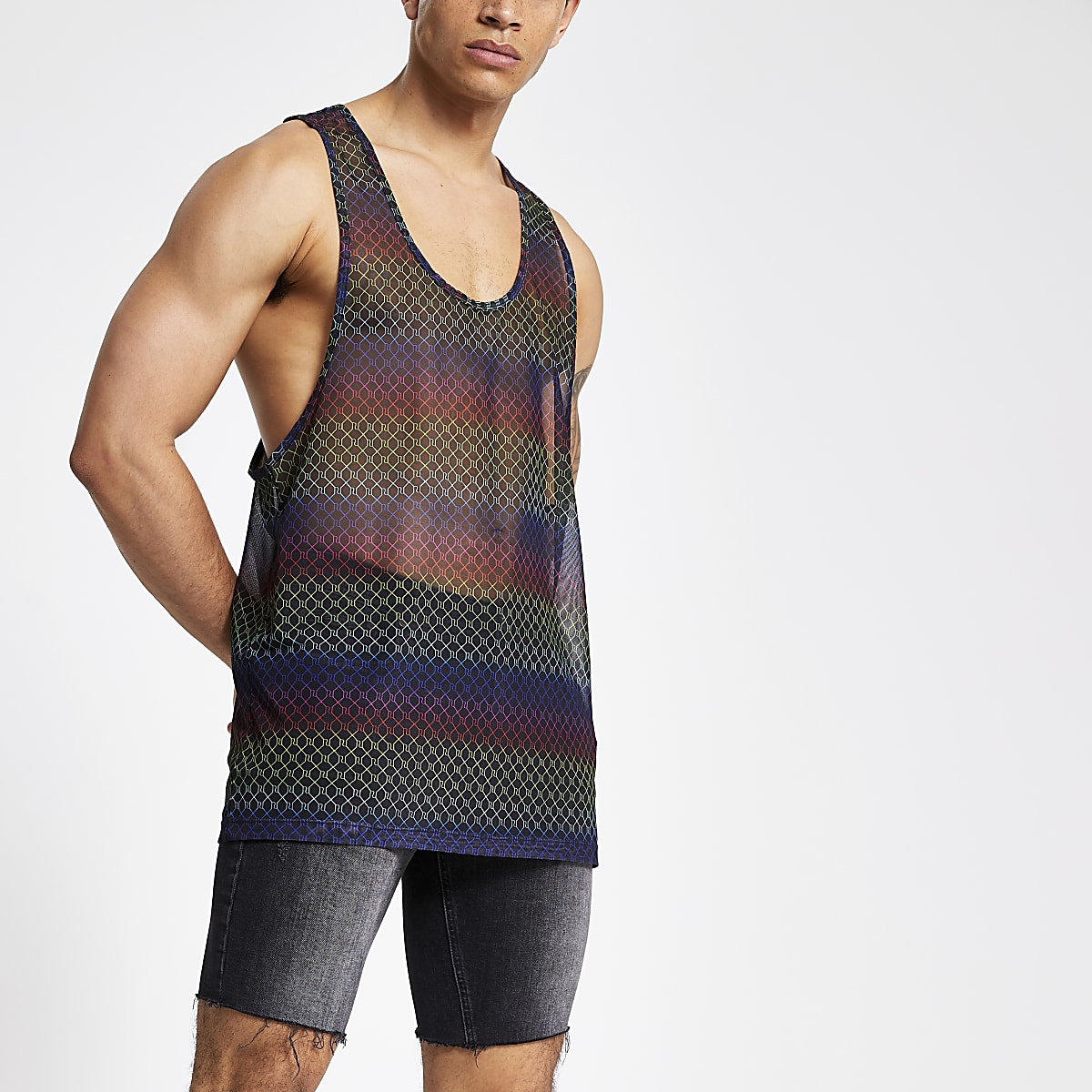 Black slim fit stripe Pride tank