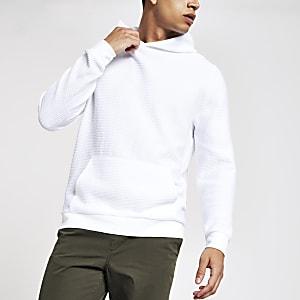 White ribbed slim fit hoodie