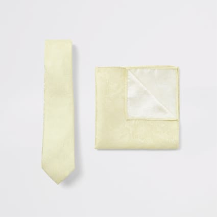 Yellow floral tie and handkerchief set