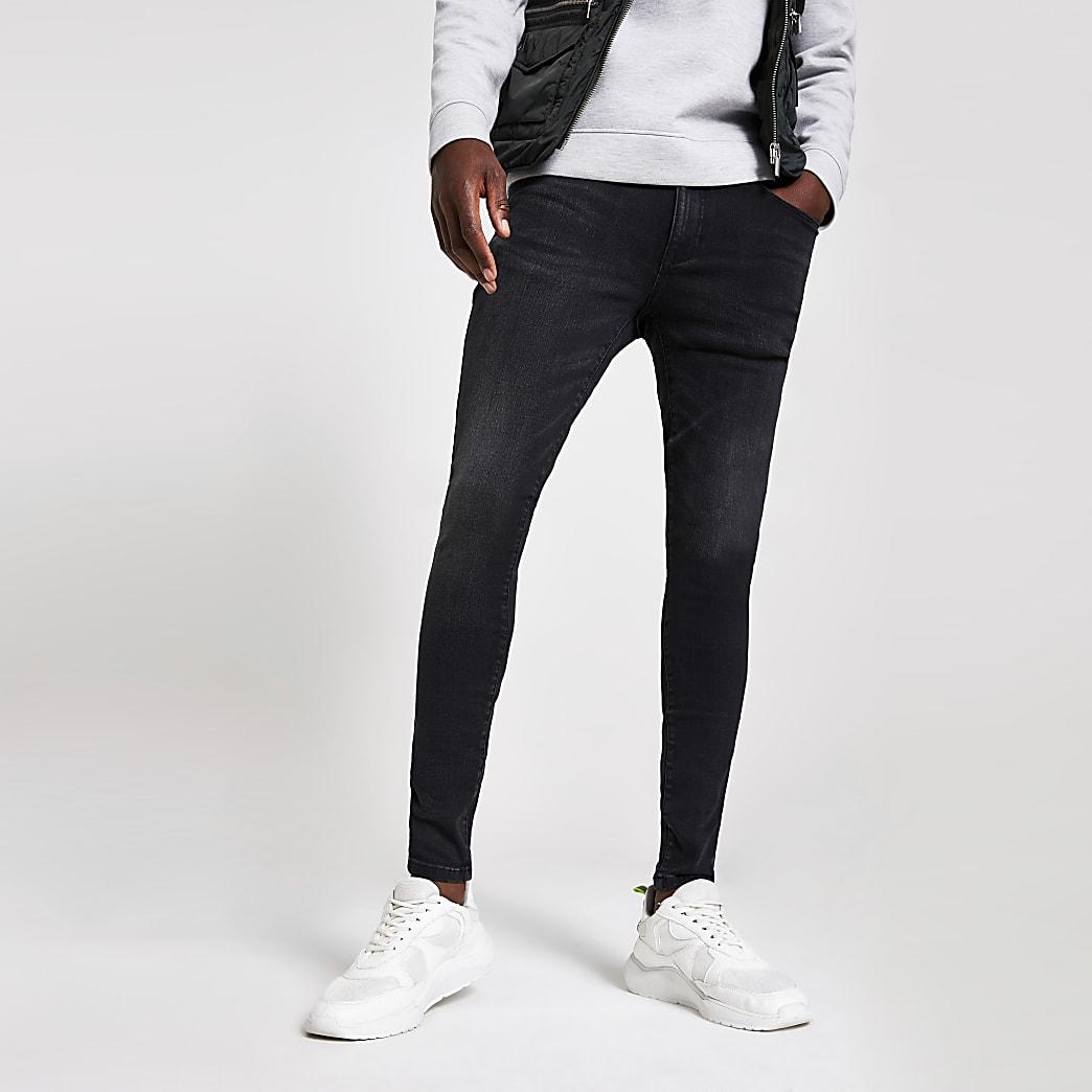 Ollie - Zwarte spray-on skinnny washed jeans