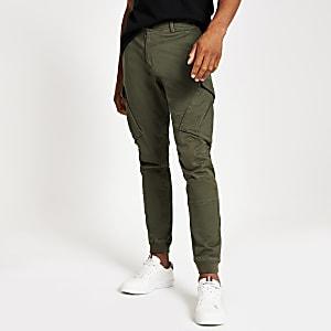 Jimmy – Pantalon cargo slim fuselé kaki