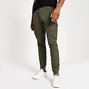 Jimmy - Kaki slim-fit toelopende cargobroek