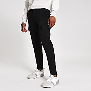 Black skinny cargo trousers