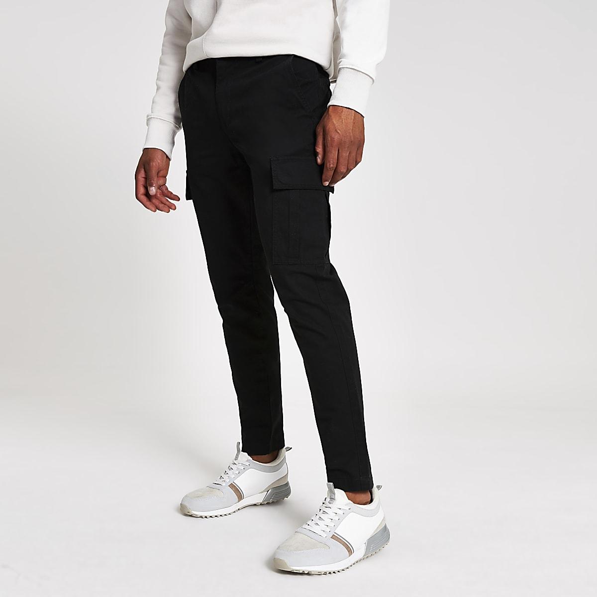 Schwarze Skinny Cargo-Hose