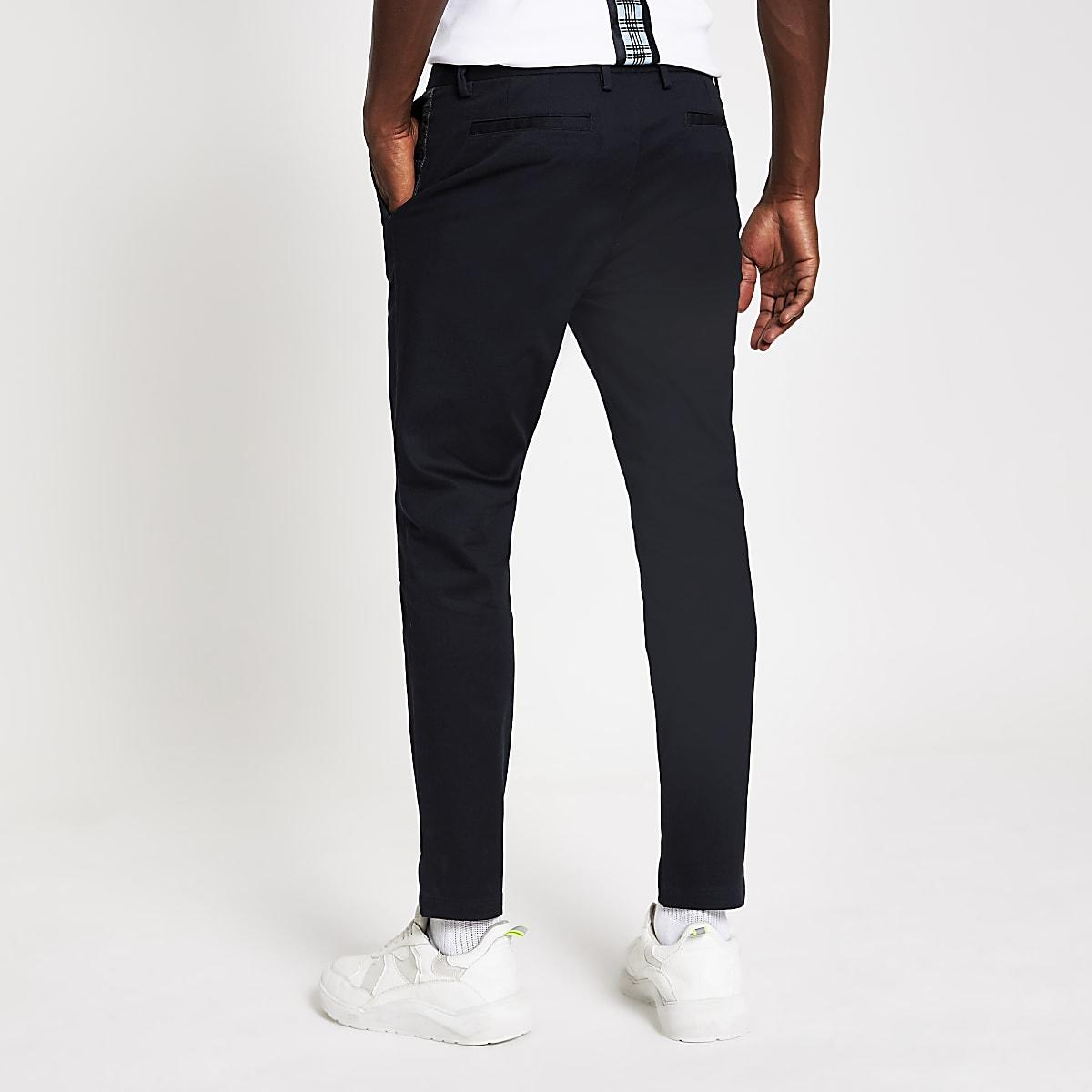Navy tape skinny chino trousers