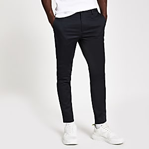 Navy tape skinny chino trousers