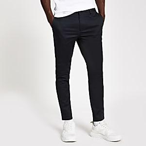 Pantalon chino skinny bleu marine à bande