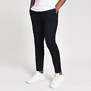 Pantalon chino skinny bleu marine à bande et surpiqûres