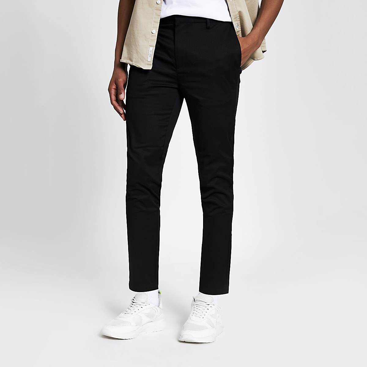 Black side tape skinny pants