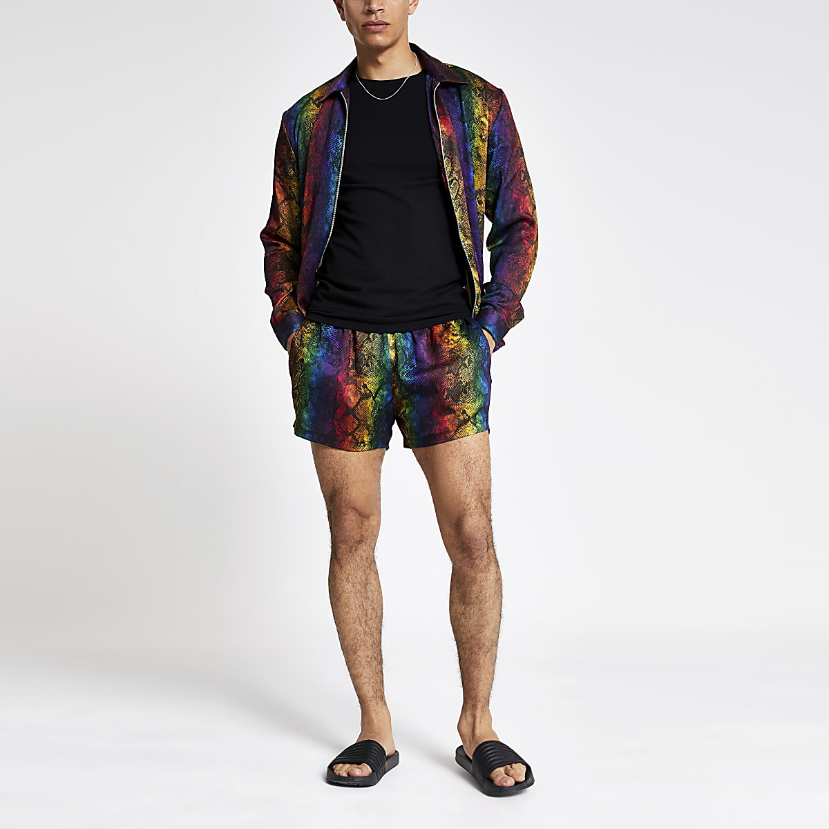 Multi coloured snake print Pride shorts