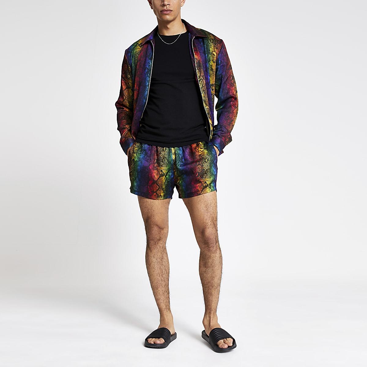 Multi colour snake print Pride shorts