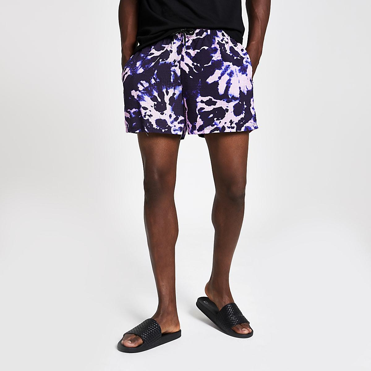 Paarse slim-fit short met tie dye
