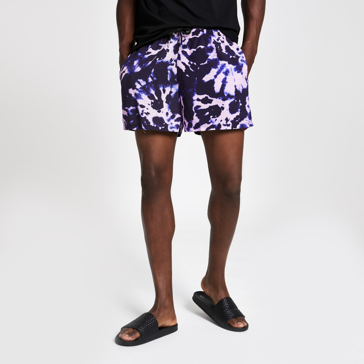 Purple tie dye slim fit shorts