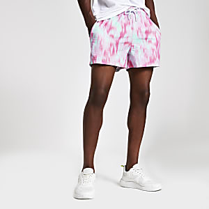 Green tie dye slim fit shorts