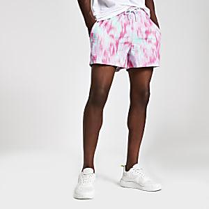 Roze slim-fit short met tie-dye