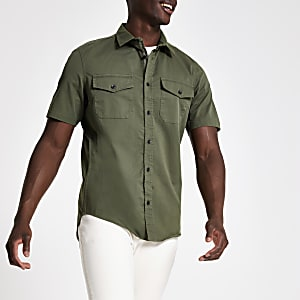 Dark green short sleeve utility shirt