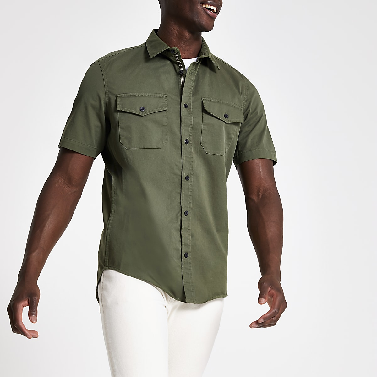 Khaki regular fit short sleeve utility shirt