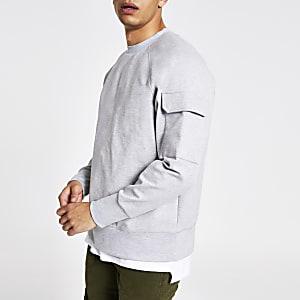 Grey utility sleeve oversized sweatshirt