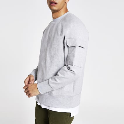 Grey utility sleeve oversized sweatshirt