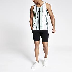 Groen gestreept slim-fit hemdje van mesh