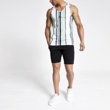 Green stripe slim fit mesh vest