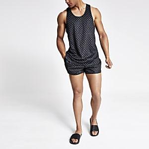Zwart slim-fit racerhemdje van mesh met RI-monogram