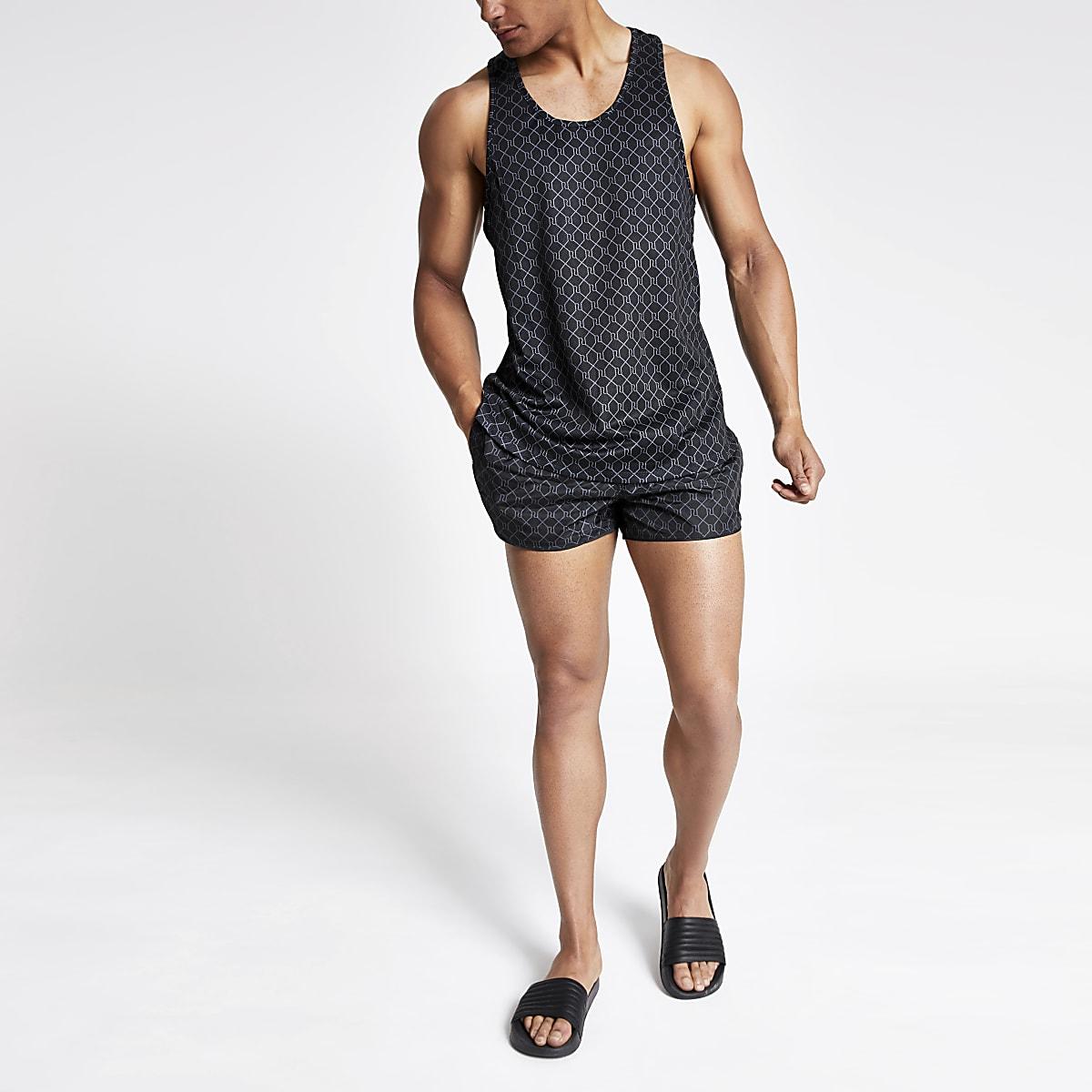 Débardeur slim en maille ajourée noir à dos nageur avec logo RI
