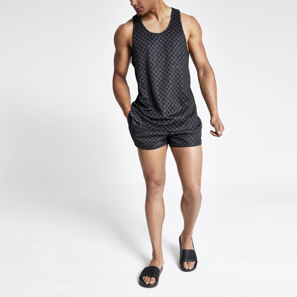 Black RI monogram racer slim fit mesh vest