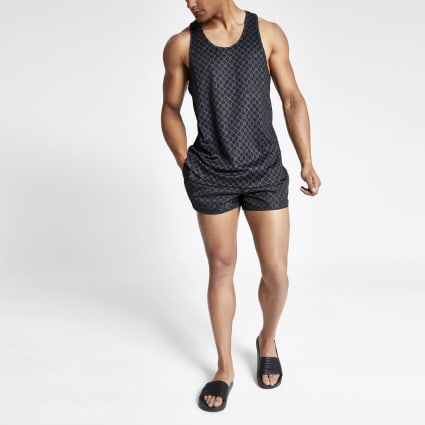 Black RI monogram racer slim fit mesh vest