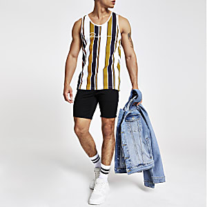 Yellow 'Prolific' stripe slim fit vest