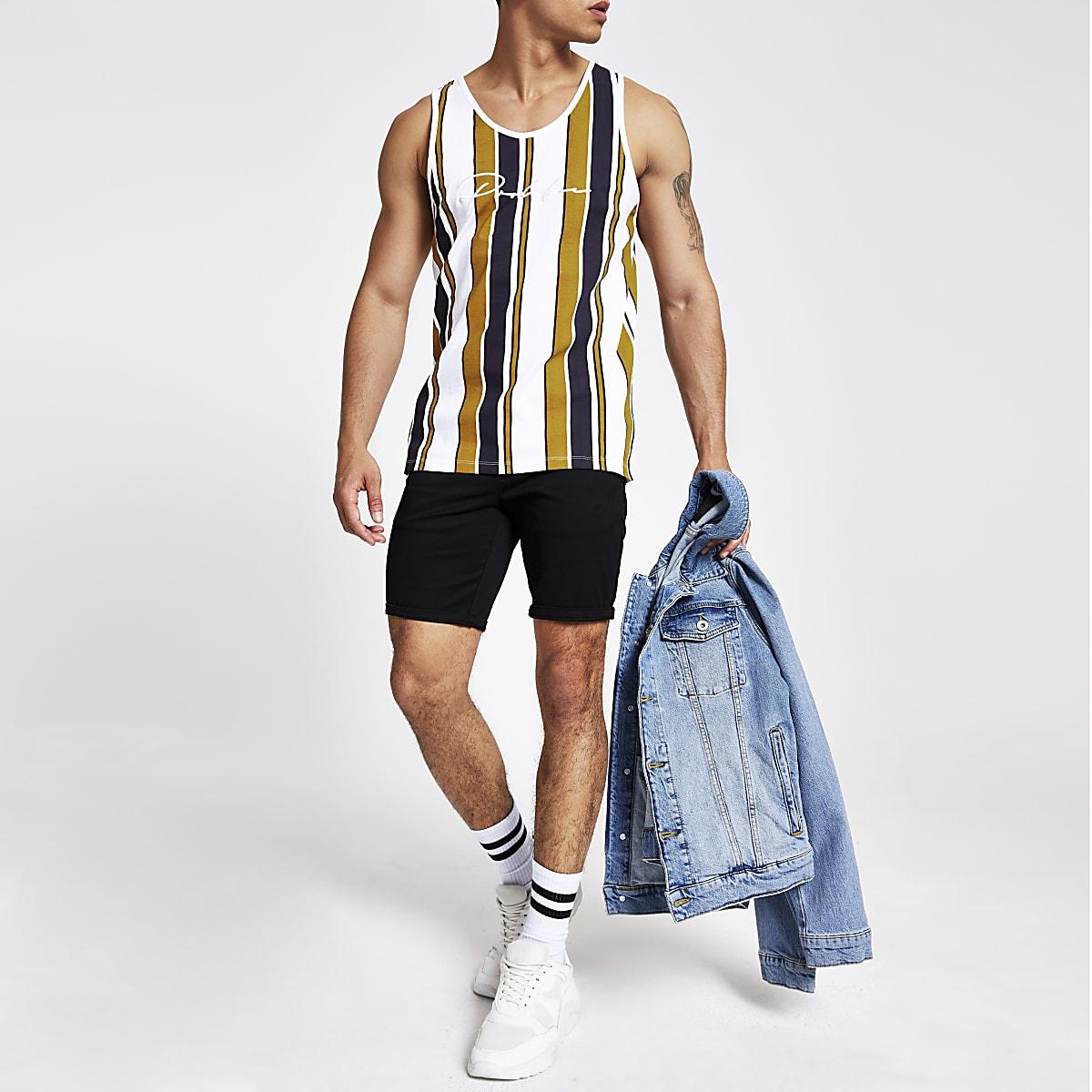 Yellow 'Prolific' stripe slim fit tank