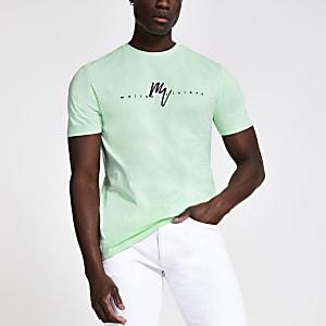 Mintgroen slim-fit T-shirt met 'Maison Riviera'-print