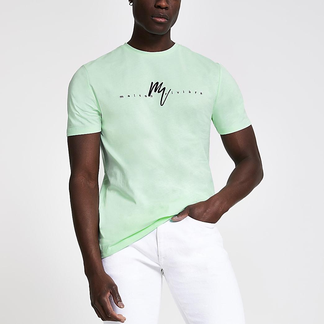 Mint green Maison Riviera slim fit T-shirt