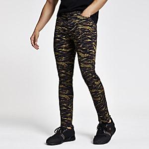 Skinny Hose mit Camouflage-Print in Khaki