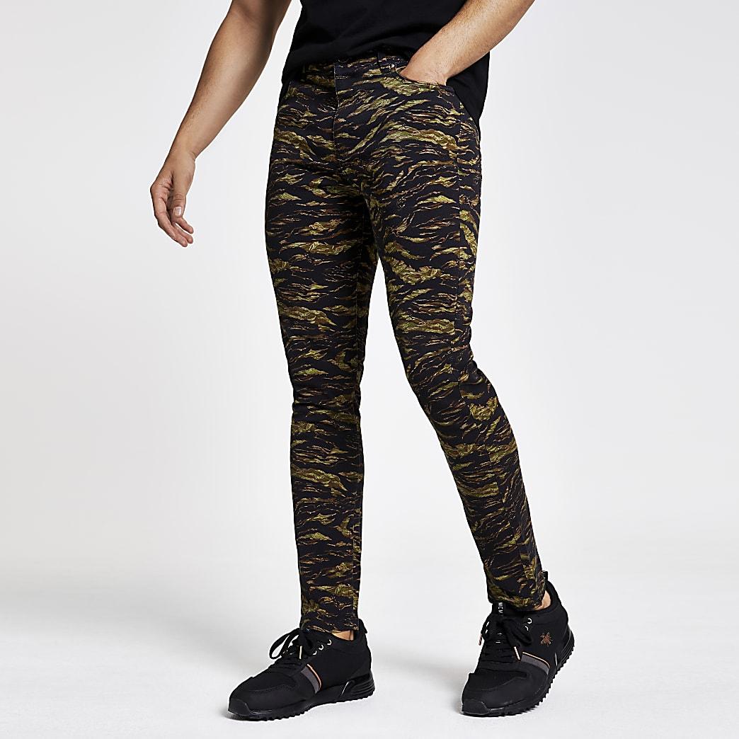 Kaki skinny broek met camouflageprint