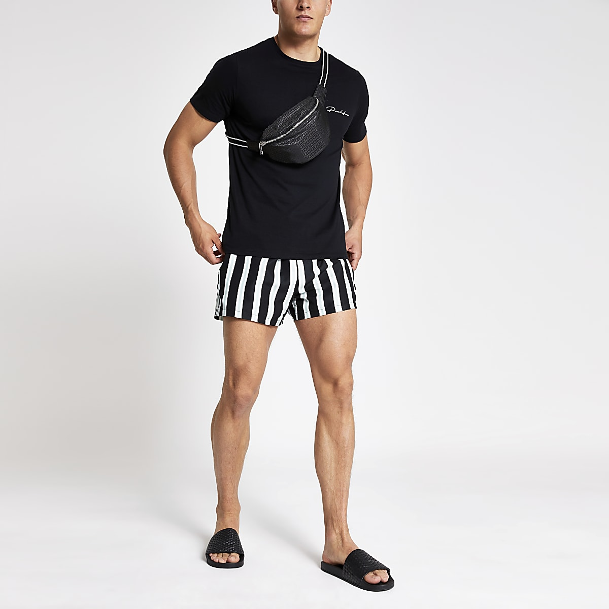 Light green stripe print swim trunks