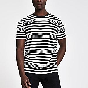 T-shirt slim blanc rayé horizontalement