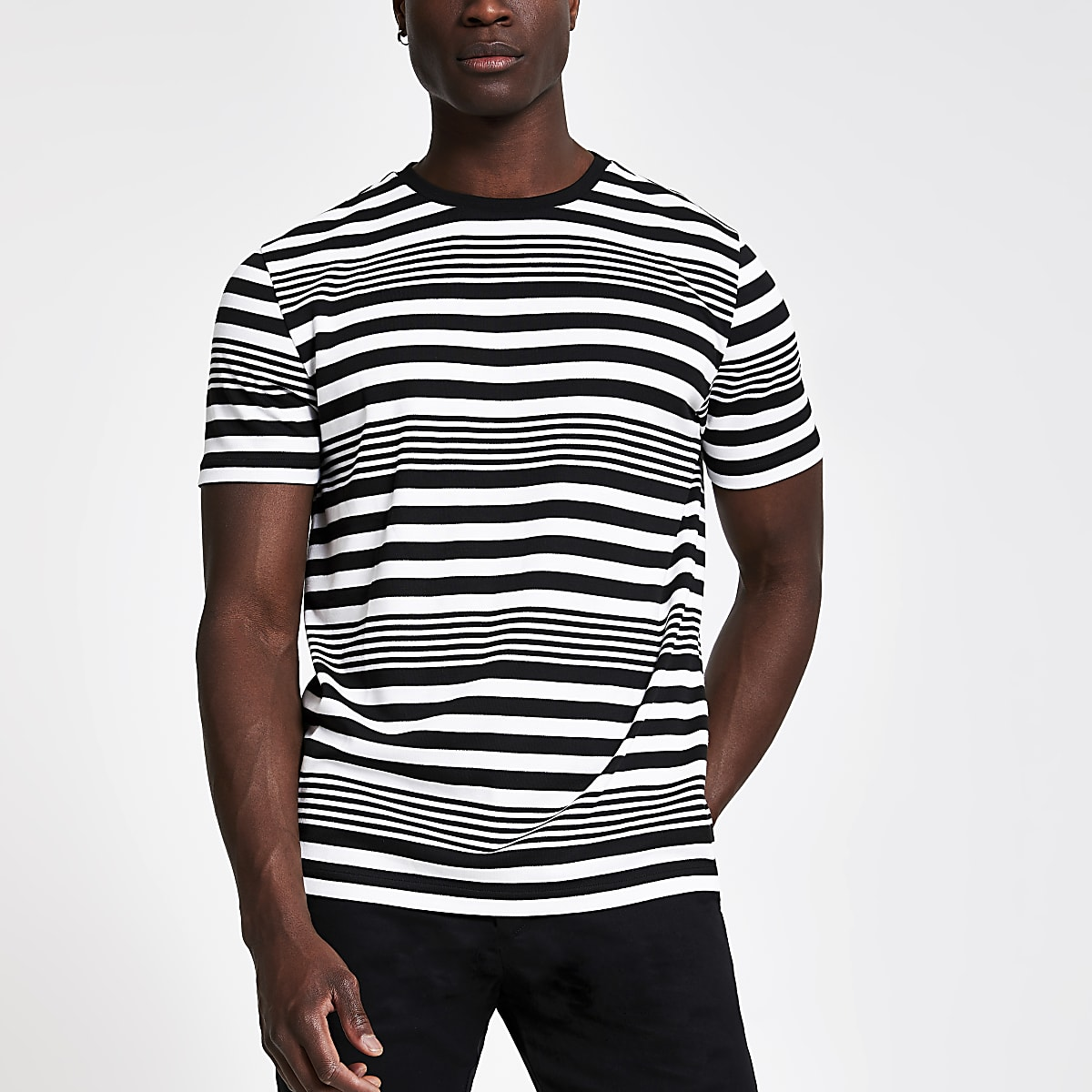 White horizontal stripe slim fit T-shirt