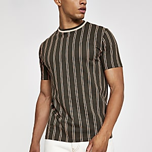 Khaki vertical stripe slim fit T-shirt