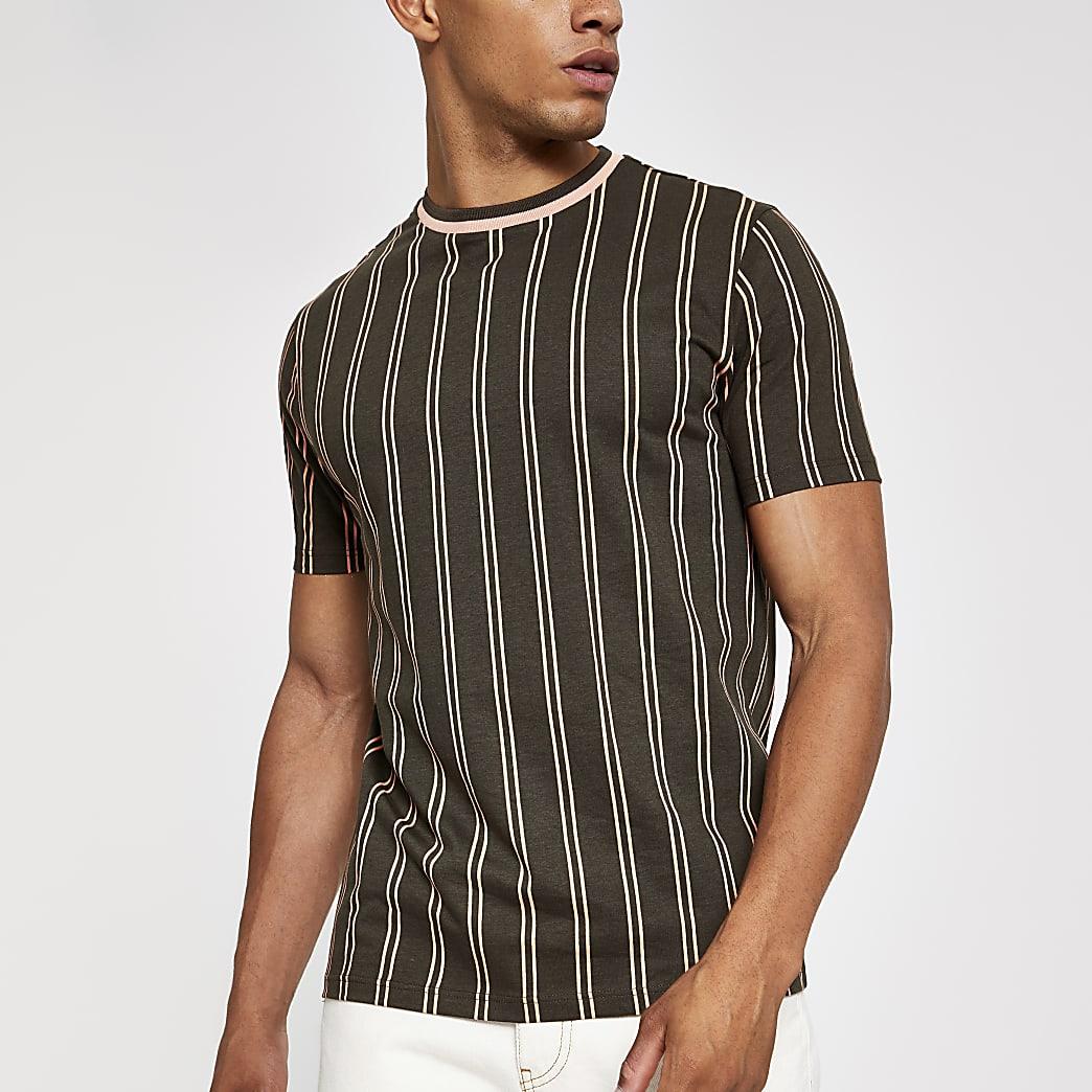 Kaki slim-fit T-shirt met verticale strepen