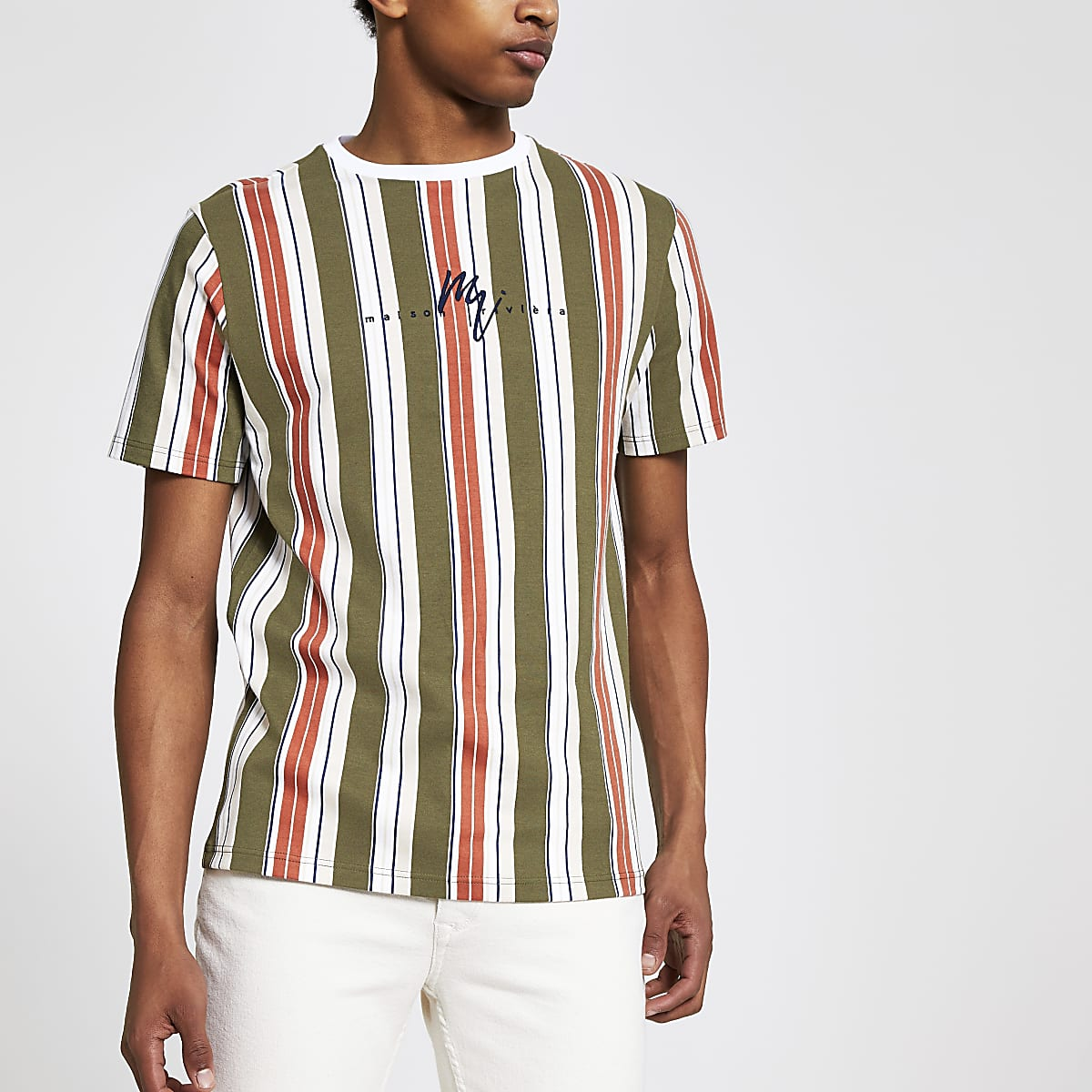 Orange stripe Maison Riviera slim T-shirt