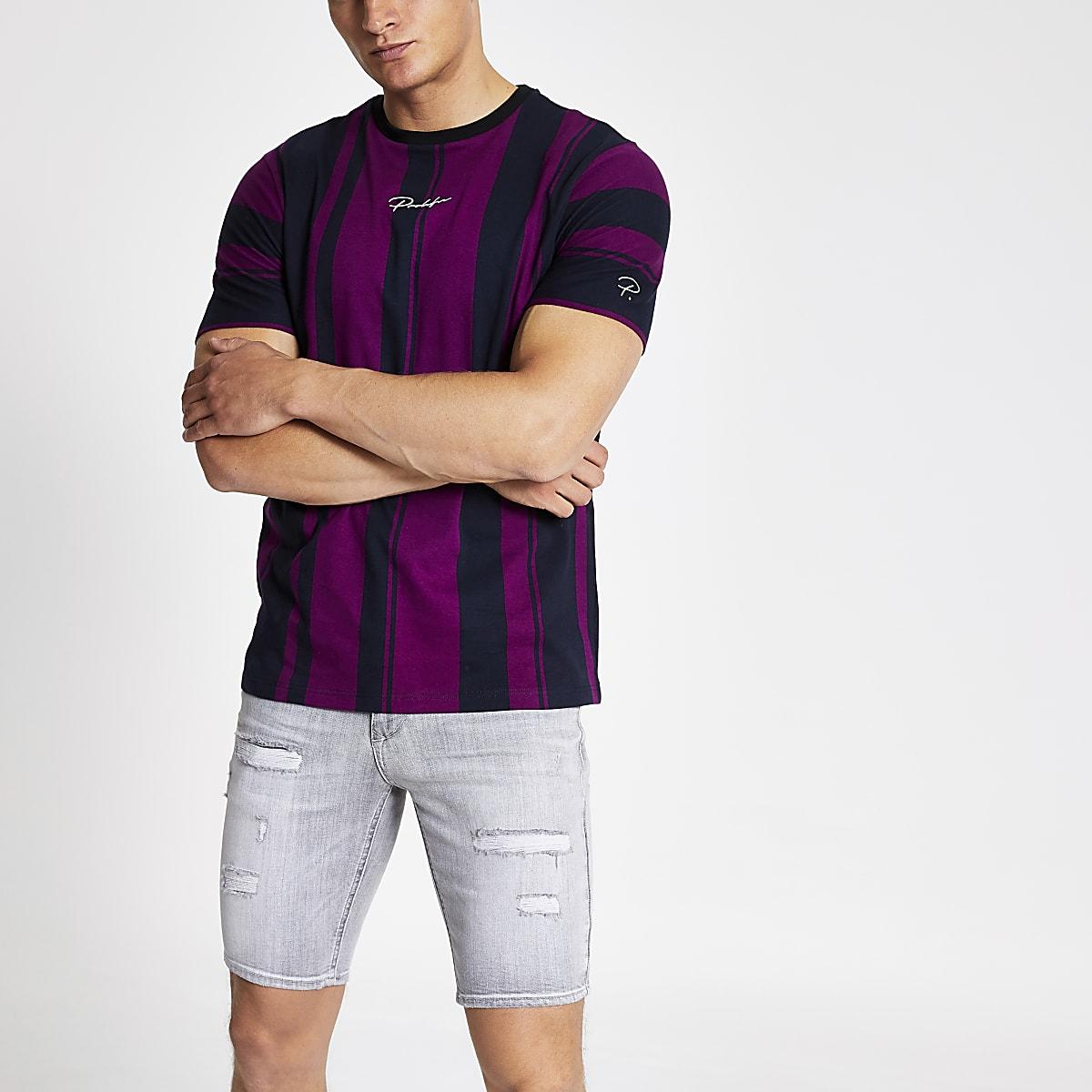 Paars slim-fit gestreept T-shirt met 'Prolific'-print