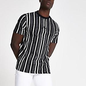 "Graues, gestreiftes T-Shirt ""Maison Riviera"""