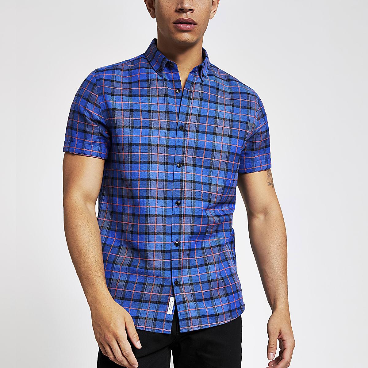 Blauw geruit slim-fit overhemd met korte mouwen