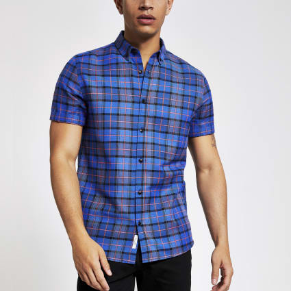 Blue check slim fit short sleeve shirt