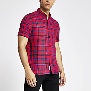 Chemise cintrée à carreaux rouge