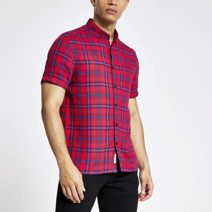 Red check slim fit short sleeve shirt