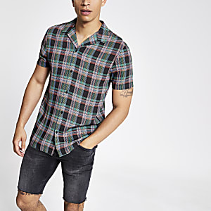 Black neon check shirt